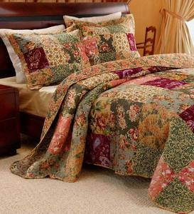 Cotton Paisley Patchwork Block Reversible Bedspread And Shams