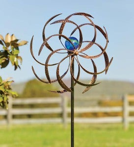 Metal Wisp Wind Spinner With Glowing Glass Orb