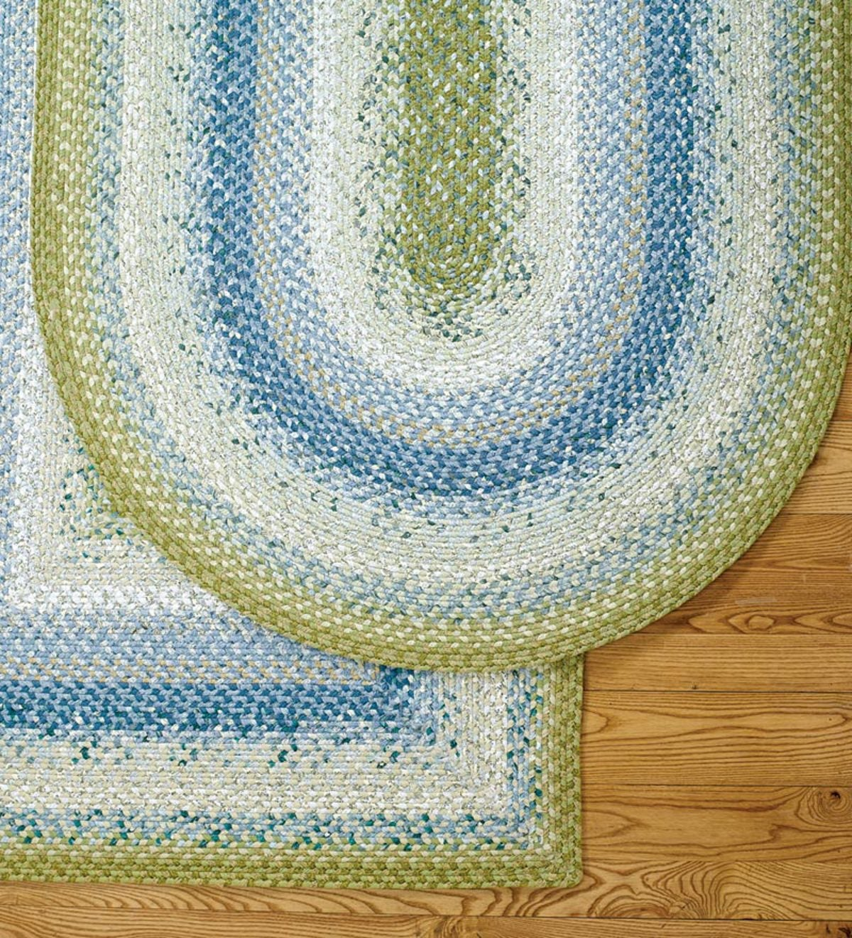 Oval Cotton Blend Braided Rug, 4' x 6' - Blue/Green