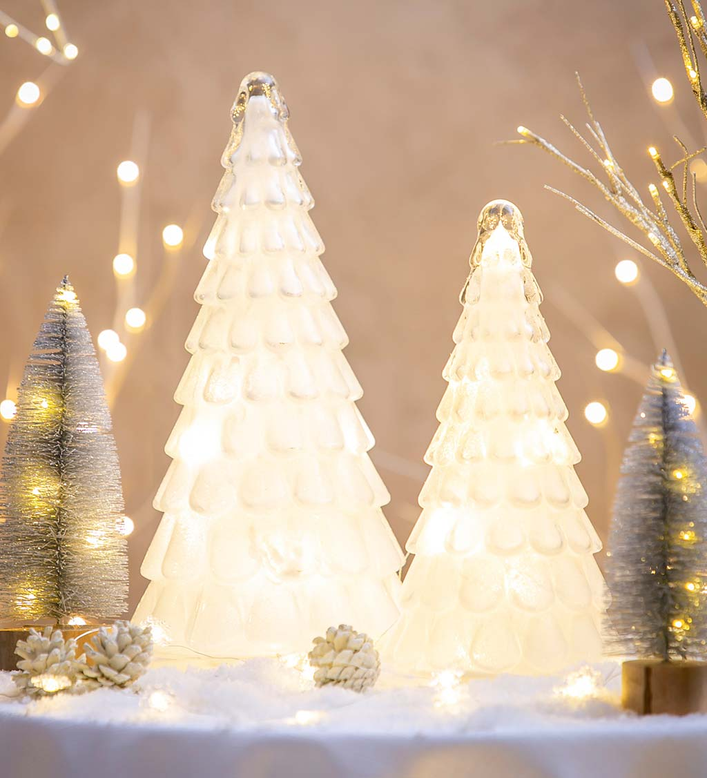 LED White Glass Trees with Glitter, Set of 2