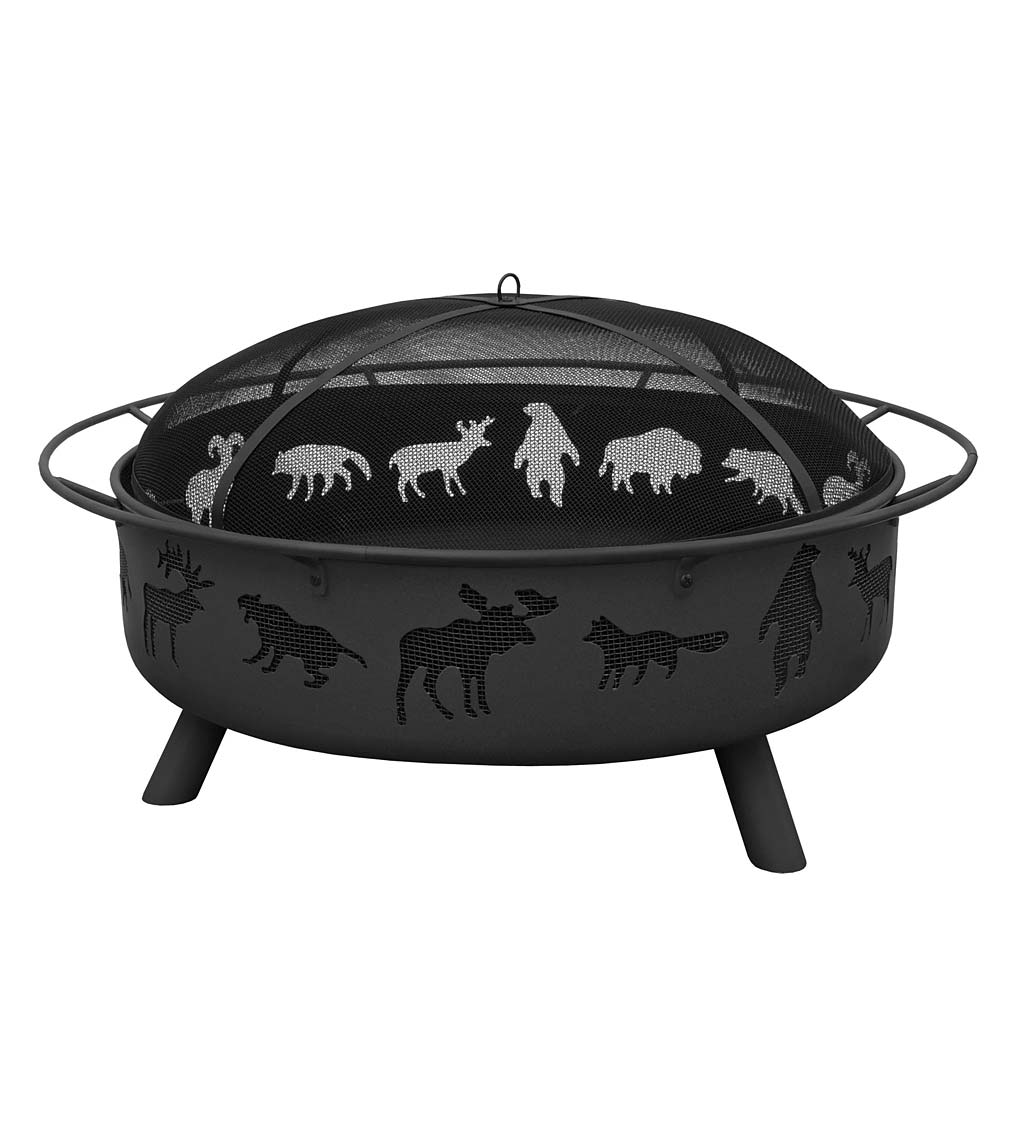"Super Sky 36"" Wildlife Wood-Burning Fire Pit - Black"