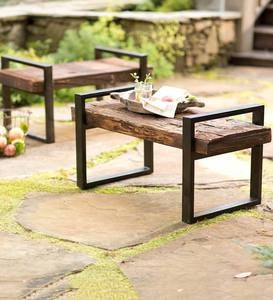 Reclaimed Wood And Iron Outdoor Bench - Bronze