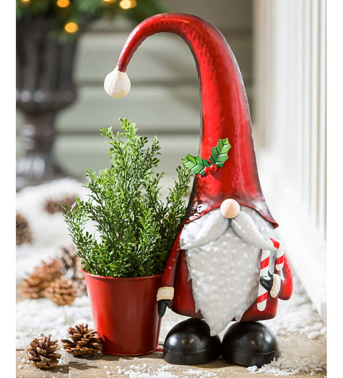 Metal Holiday Garden Gnome Statuary With Planter Plowhearth