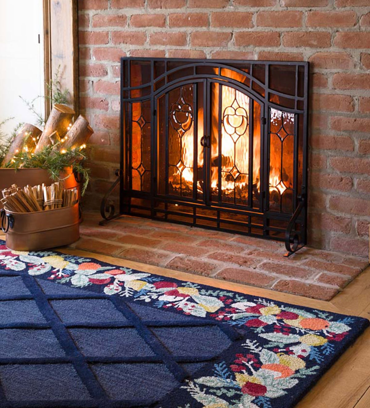 Plow Hearth Floral Large Fireplace Screen With Doors Tempered