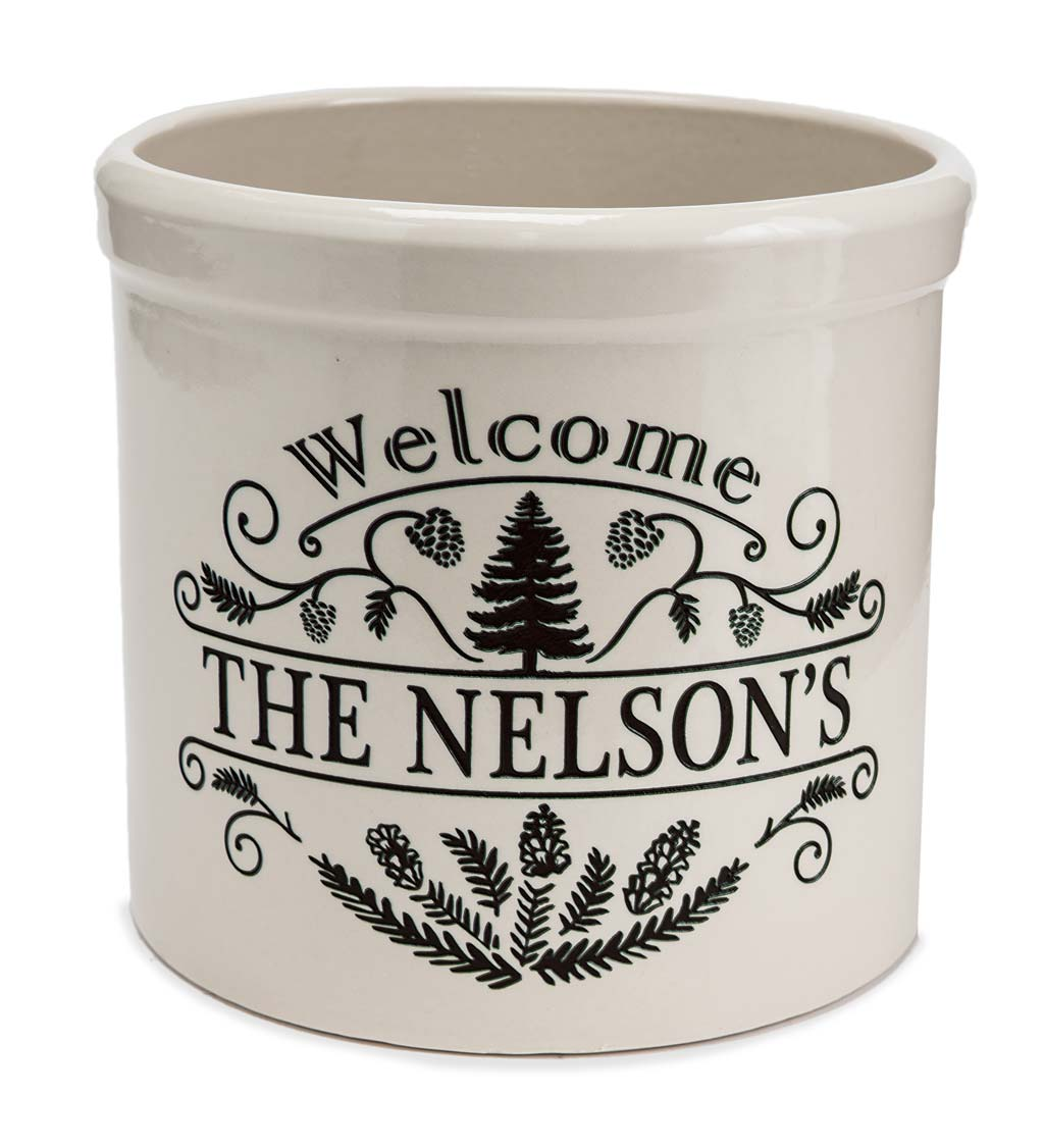 Personalized Pine Welcome Stoneware Crock swatch image