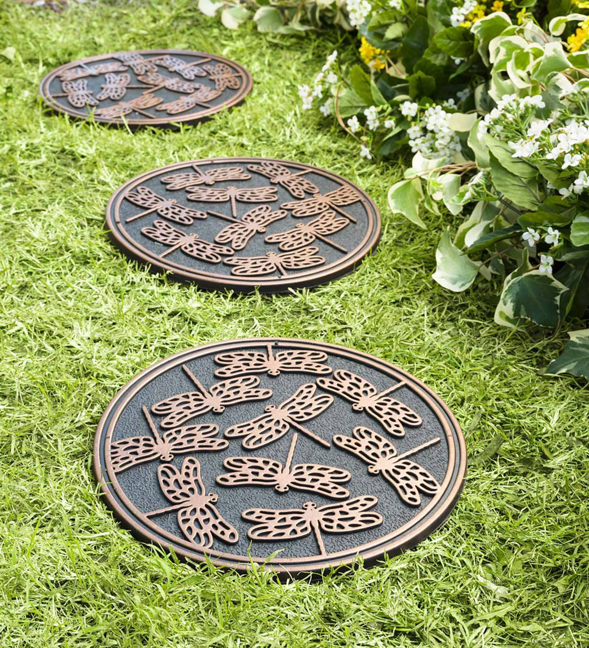 Recycled Rubber Stepping Stones, Set of 3 - Copper Dragonflies