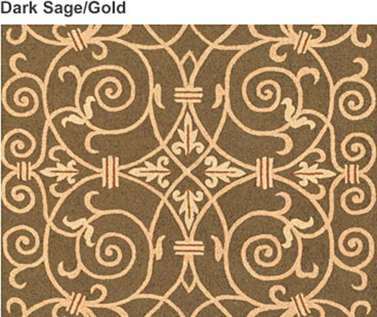 6' x 9' Scroll Wool Hook Rug - DARK SAGE/GOLD