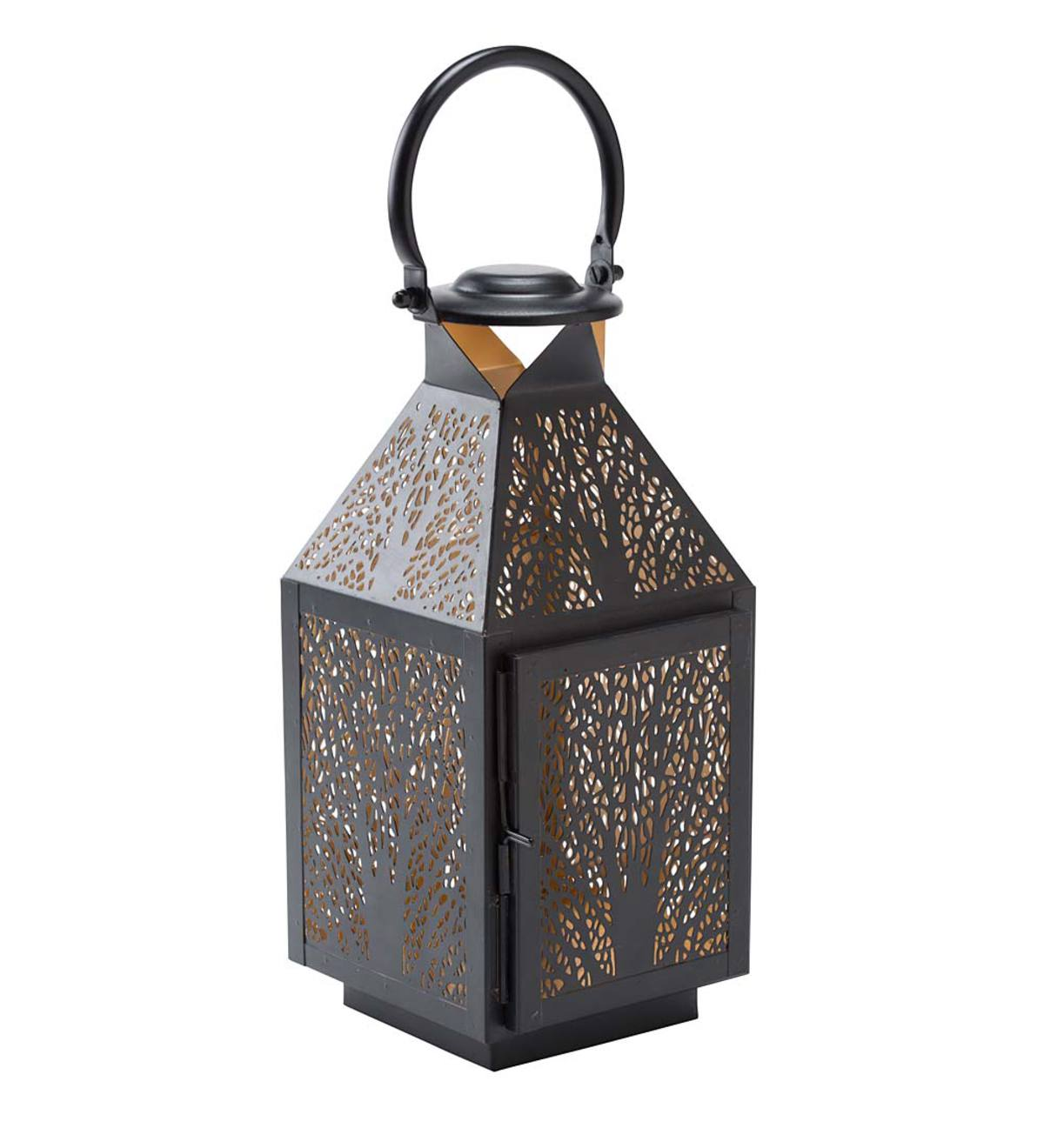 Small Metal Lantern with Tree Design