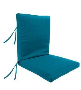 "Sunbrella Classic High Back Chair Cushion With Ties, 46""x 20""x 4""with hinge 19""from bottom"