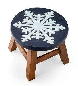 Hand-Carved Acacia Wood Glittery Snowflake Footstool