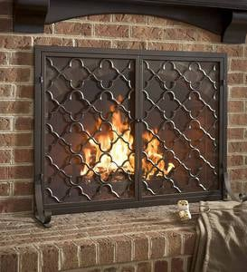 Exclusive Fireplace Screen With Doors Geometric Design