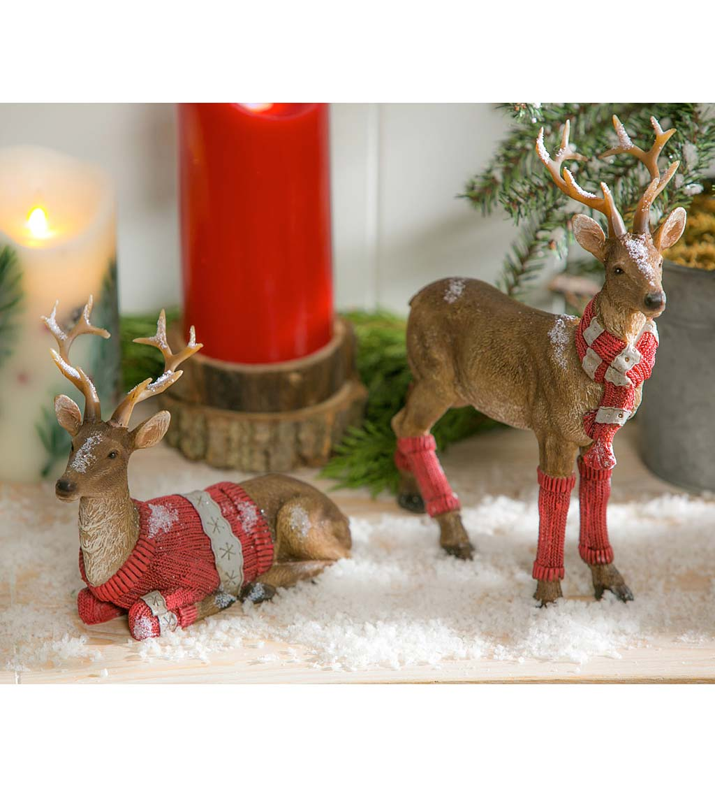 Woodland Deer in Holiday Knits, Set of 2