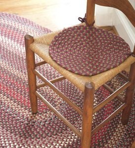"15""dia. Braided Chair Pad - Red Solid"