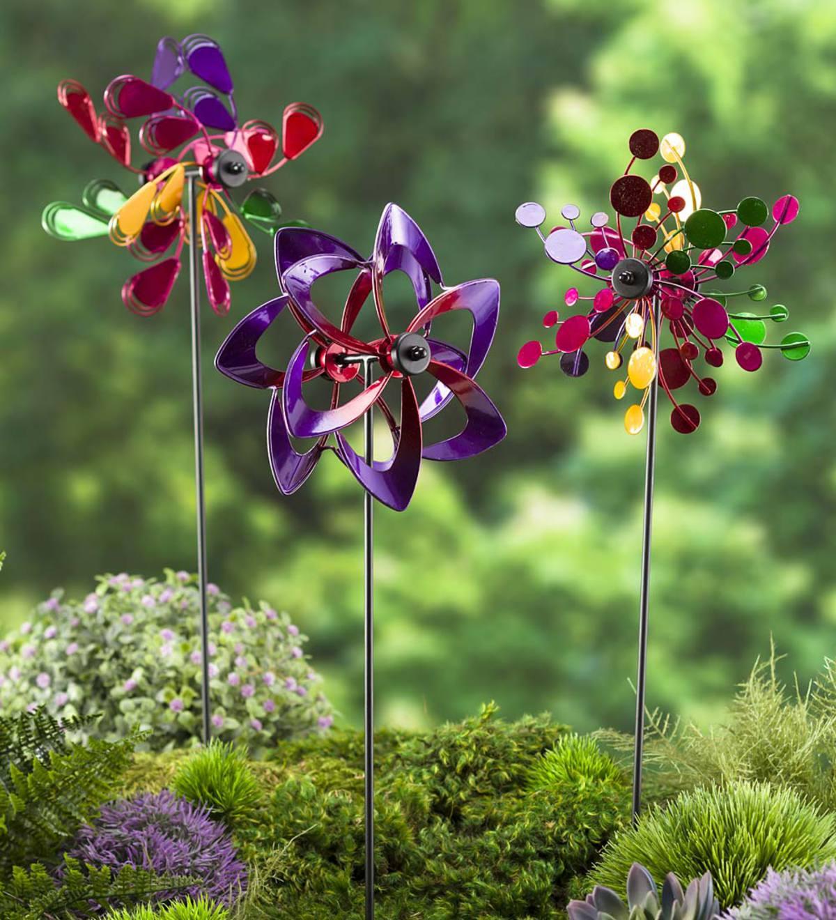 Mini Pinwheel Garden Stakes, Set Of 3