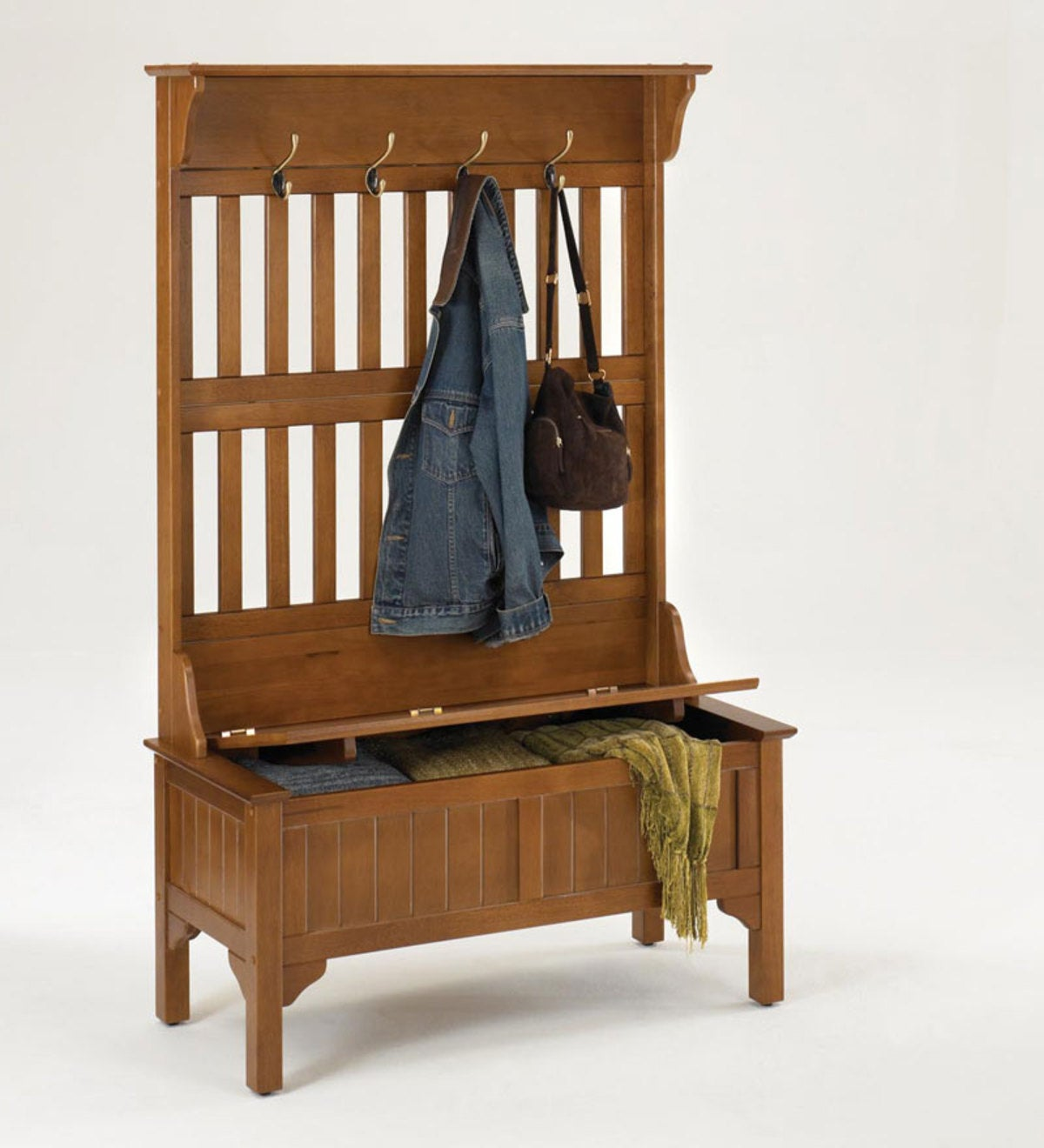 Mission Style Entryway Hall Tree And Storage Bench