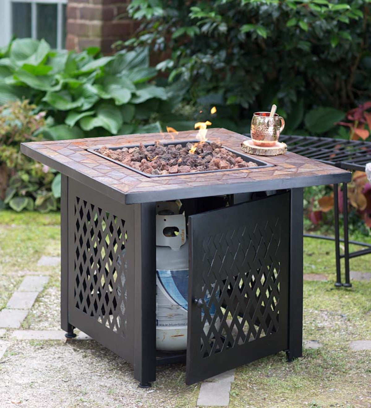 Propane Gas Fire Pit With Tile Mantel