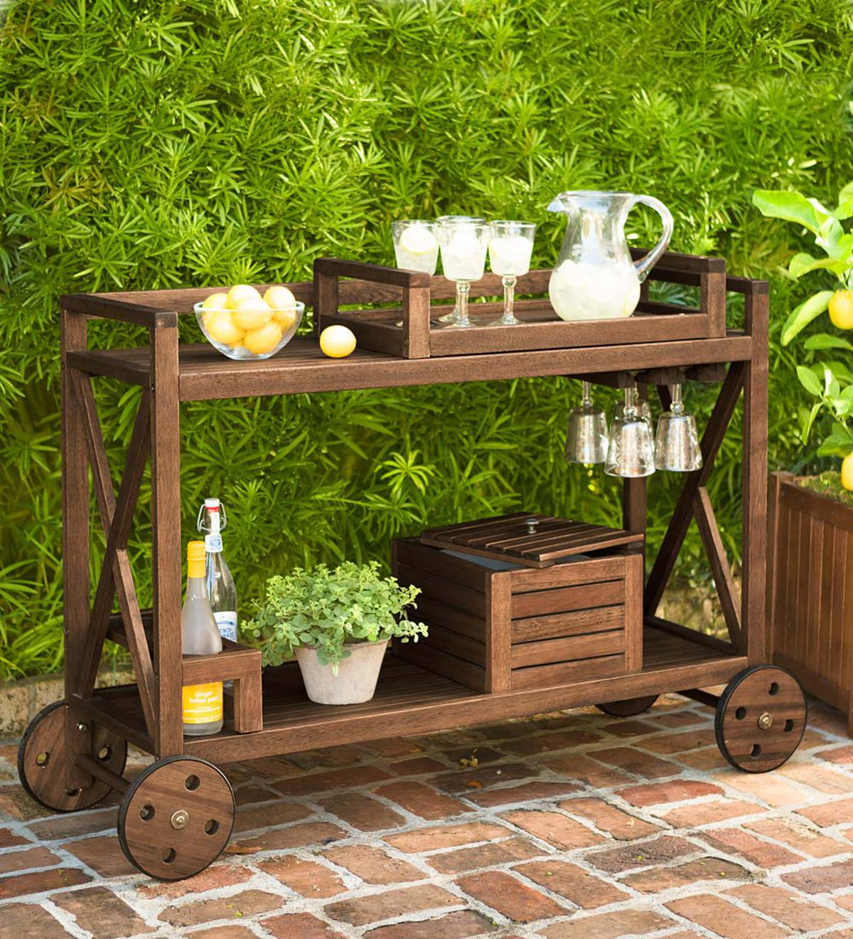 Claremont Eucalyptus Rolling Outdoor Bar Cart - Natural