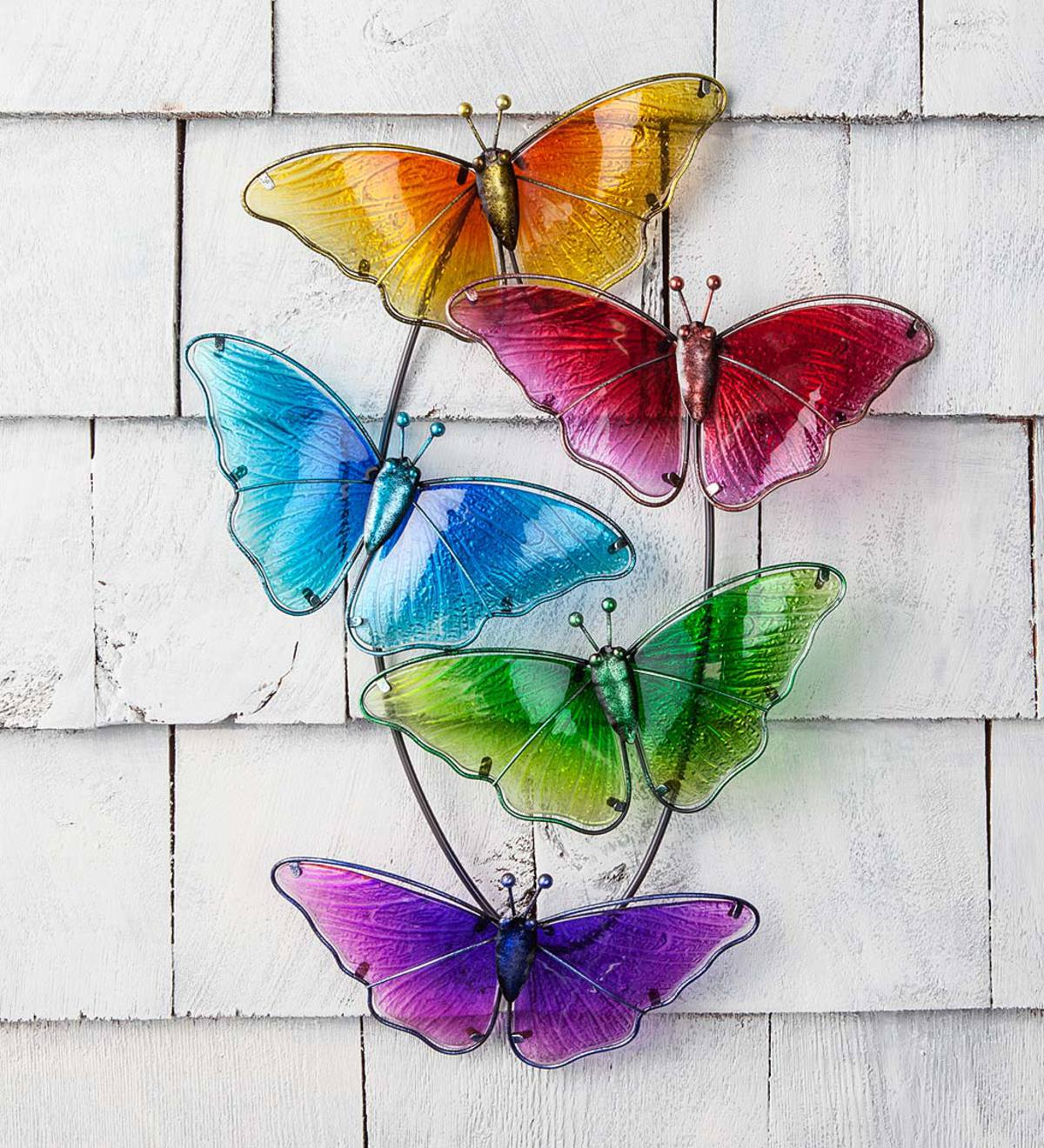 Watercolor Multi Butterfly Glass Wall Art