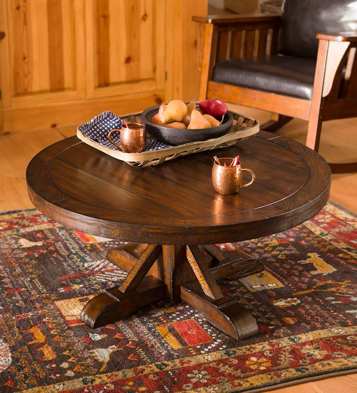 Gettysburg Round Pedestal Cocktail Table Oak Plowhearth