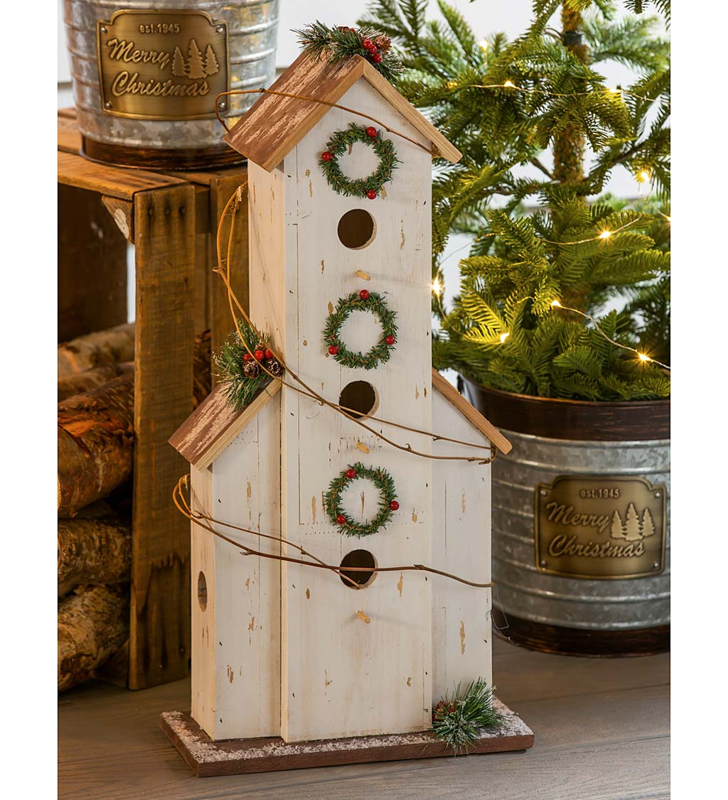 Decorative Wooden Bird House Garden Statuary