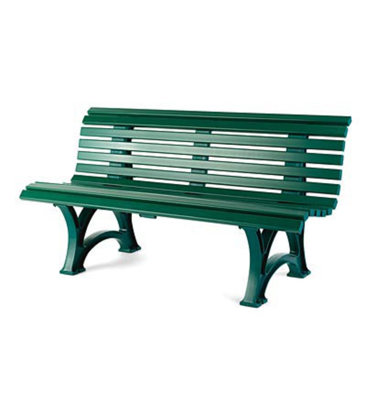 "59""x 26-1/2""x 31-1/2""H German-Made, Weatherproof Resin Garden Bench - GREEN"