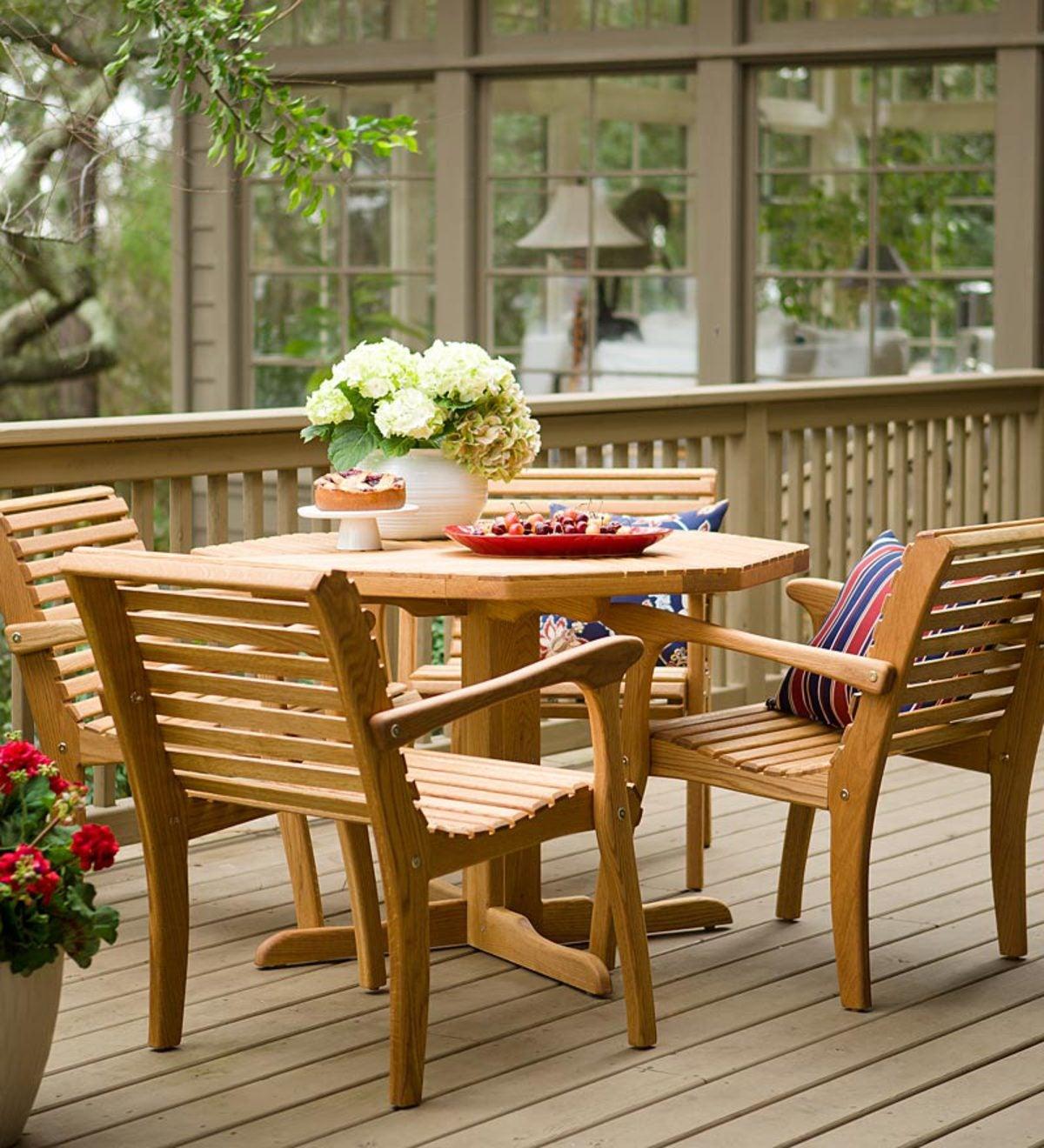 Usa Made Alachian White Oak Patio Table Chair Set