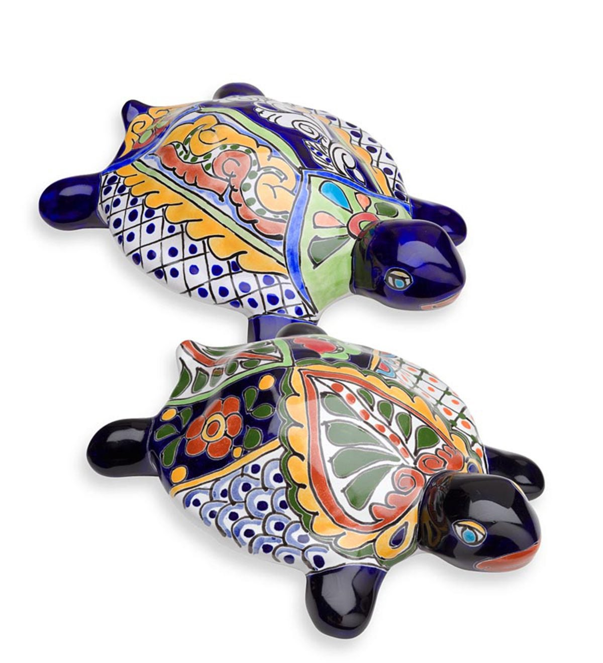 Talavera Inspired Ceramic Turtle Garden Statue