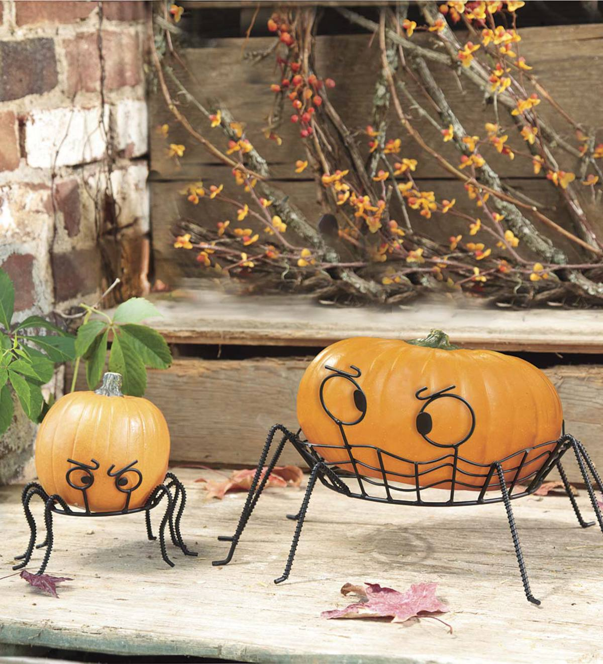 Spooky Spider Pumpkin Holders, set of 2