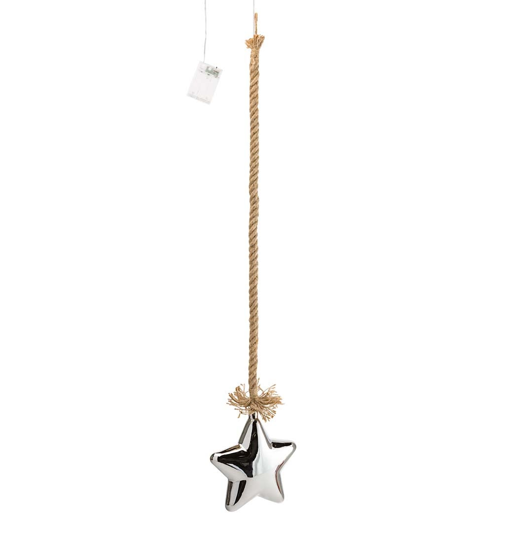 Glass Indoor Star Light With Hanging Rope and Integrated Timer