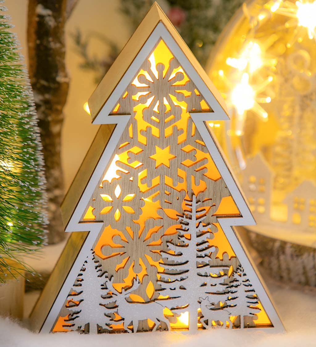 LED Wooden Tree with Woodland Scene Lighted Decor