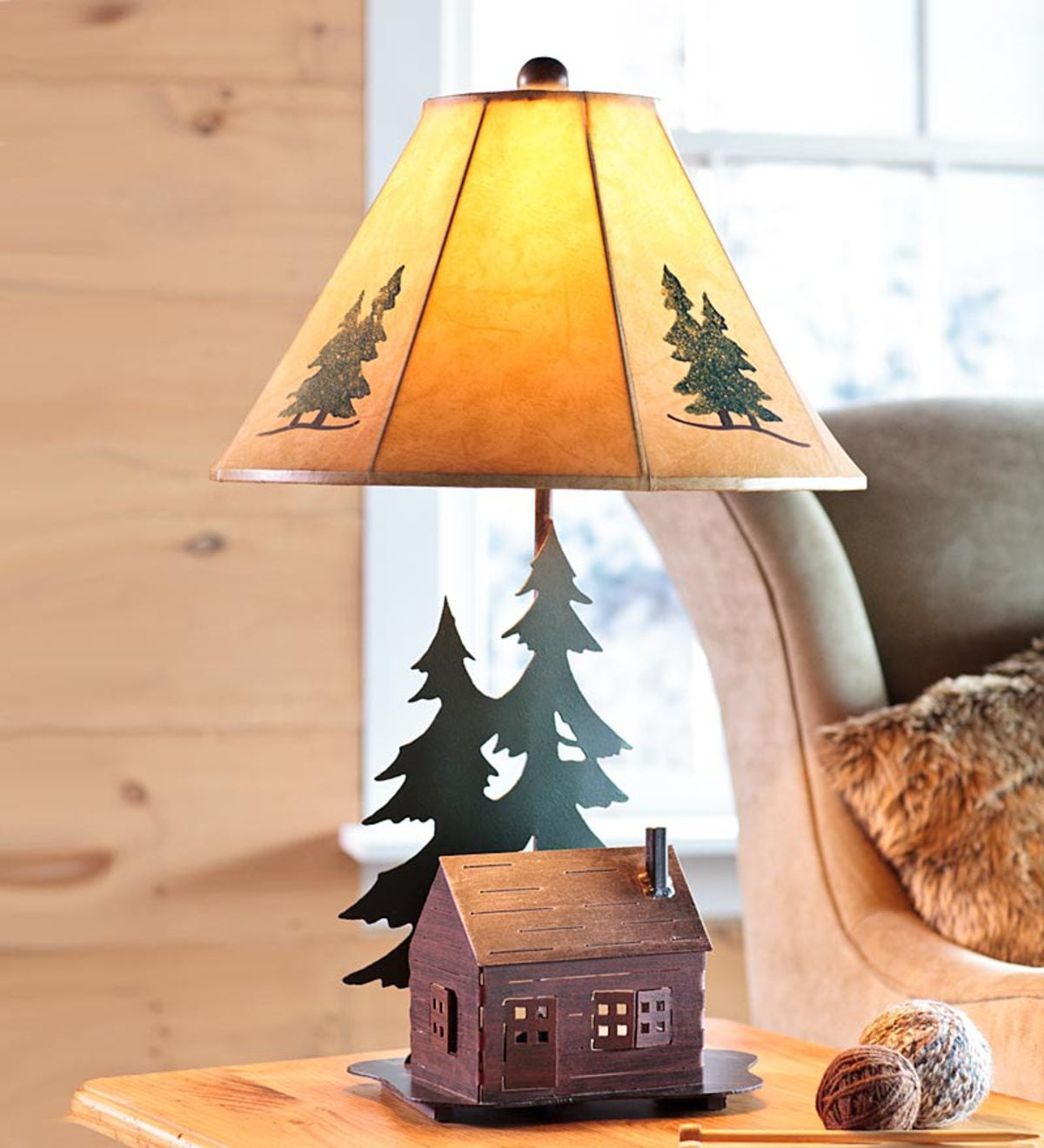Log Cabin Table Lamp With Nightlight