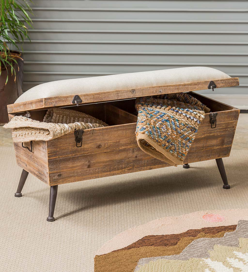 Rustic Wooden Storage Bench With Cushion Top Plowhearth
