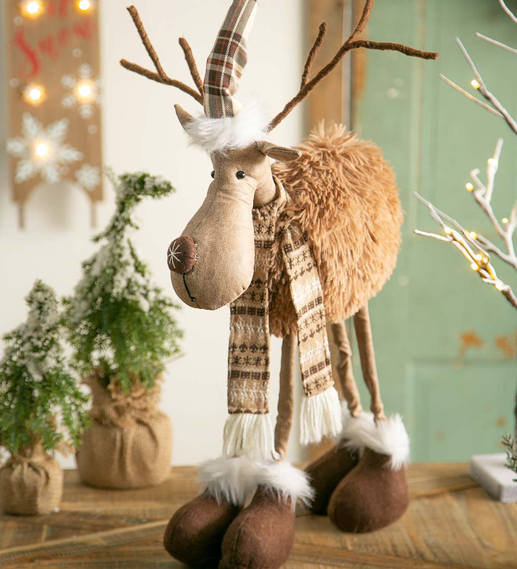 Snowflake Reindeer with Wintry Outerwear Decor