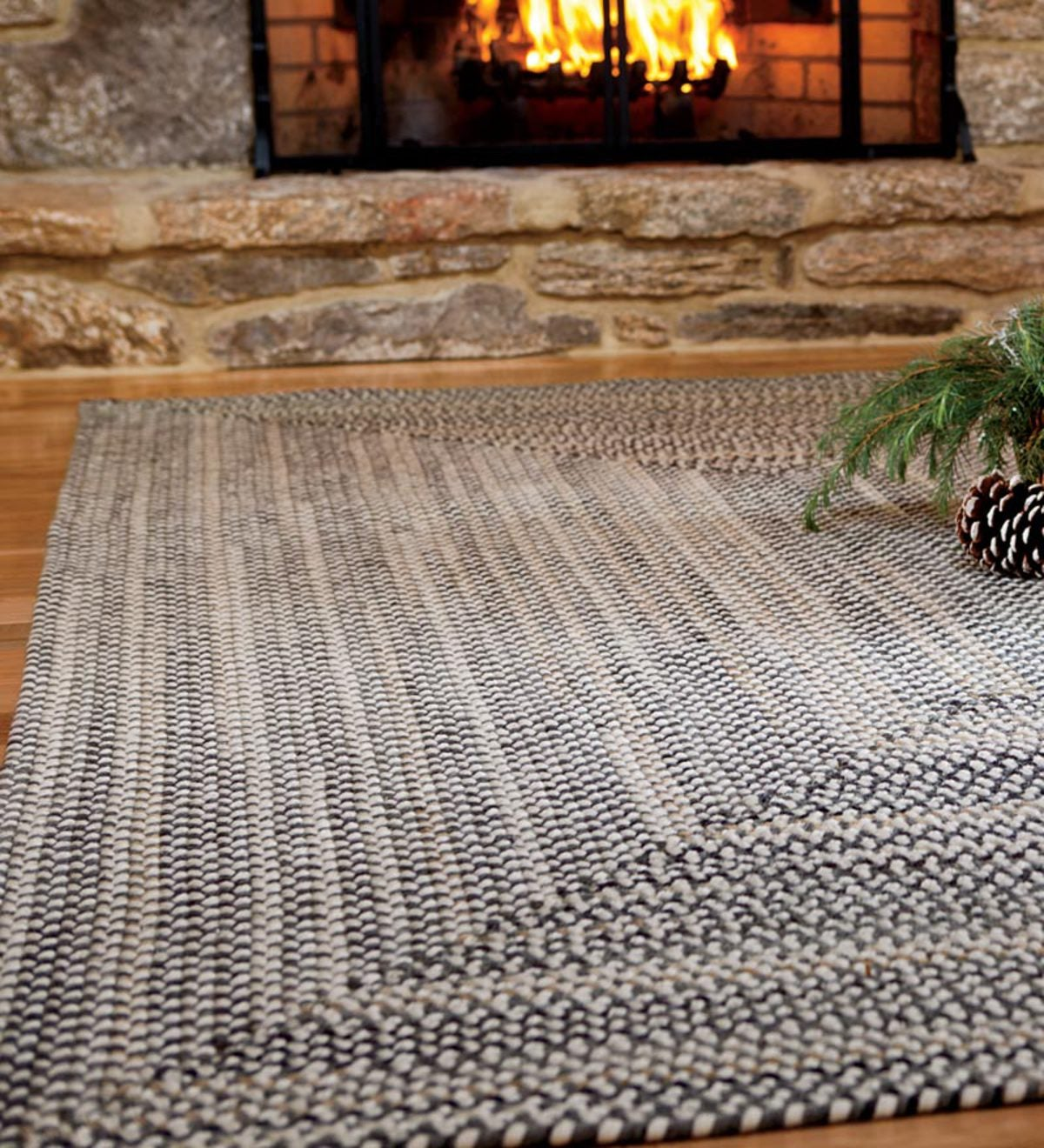 Bear Creek Rectangular Braided Wool Blend Rug, 5' x 8'