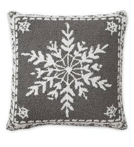 Hand-Hooked Wool Holiday Snowflake Throw Pillow
