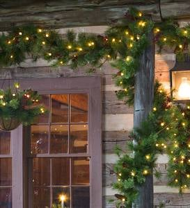 Indoor/Outdoor Blue Ridge Greenery with Battery-Operated Dual-Function Lights