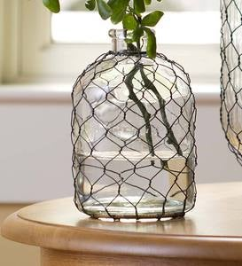 Small Chicken Wire Glass Vase
