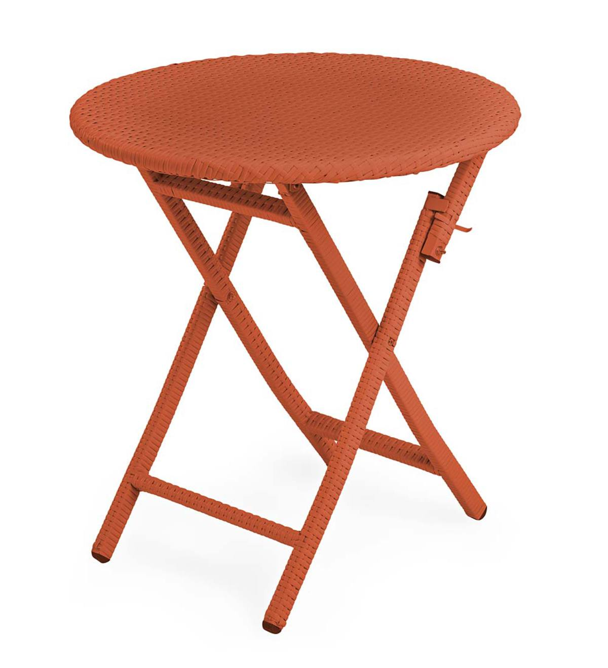Sale! Tangier Wicker Folding Round Bistro Table - Orange