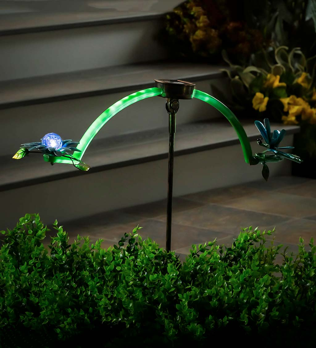 Solar Lighted Dragonfly and Flower Balancer Garden Stake