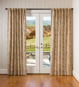 "Floral Damask Rod-Pocket Homespun Insulated Curtain Panel, 42""W x 84""L - Evergreen"