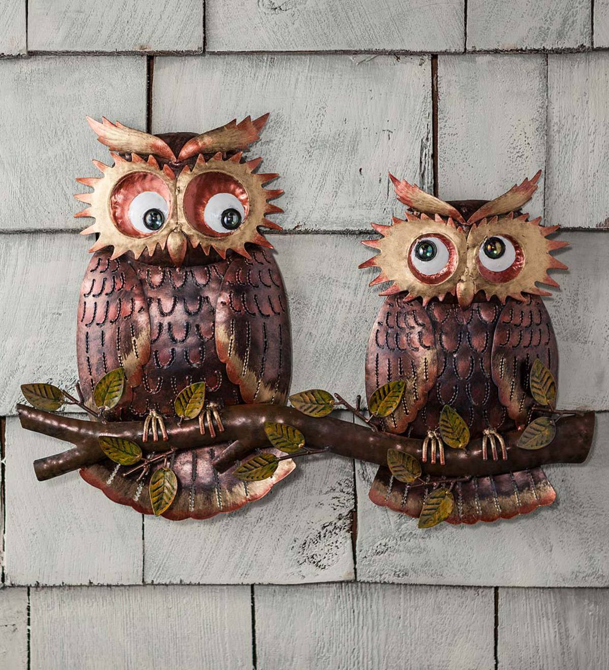 Owls on Branch Metal Wall Art