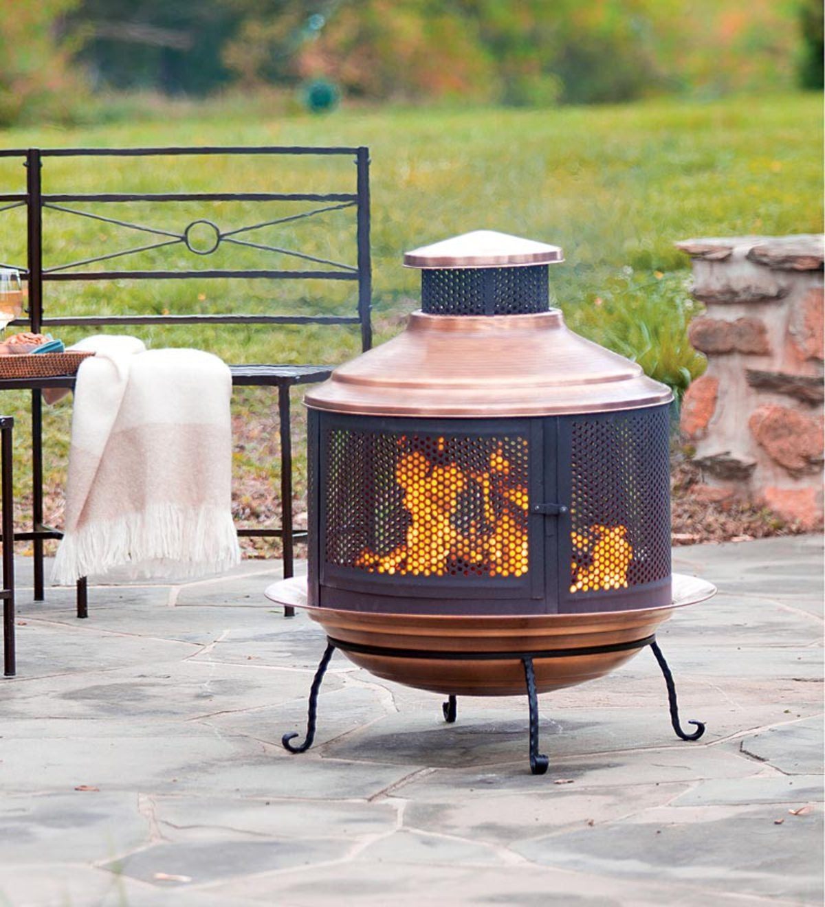 Recycled Turkish Copper Firepit Chimenea Combo With Extra Deep Basin