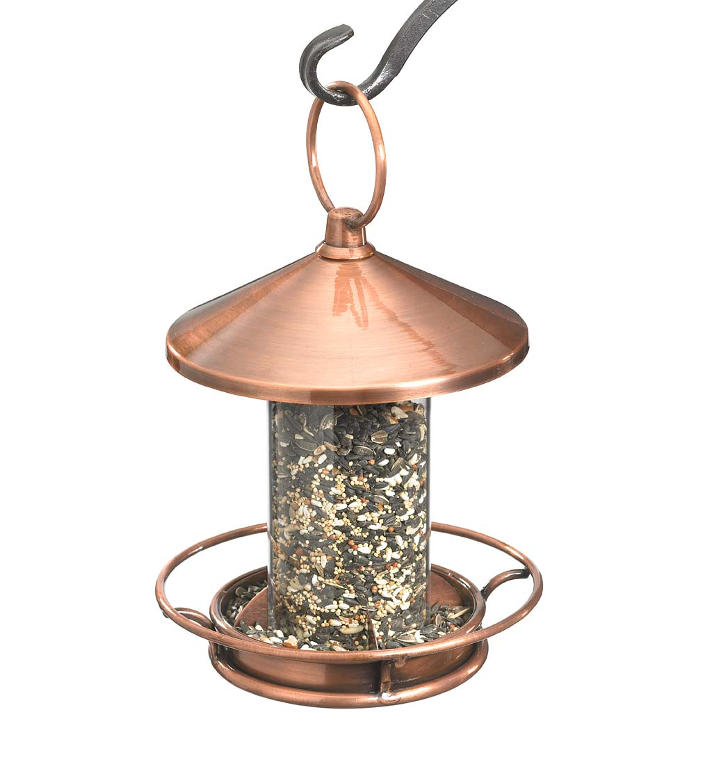 Classic Cylinder Perch Bird Feeder in Antiqued Copper and Plexiglass - Copper