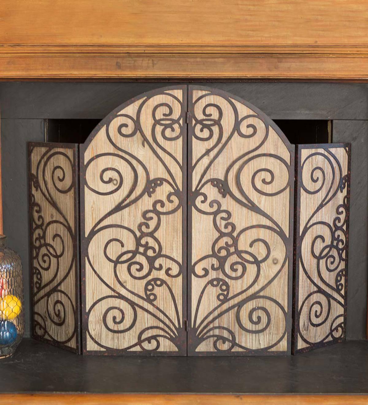 Garden Gate Decorative Fireplace Screen | PlowHearth