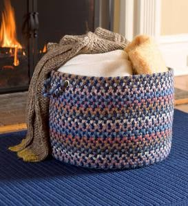 "Blue Ridge Wool Braided Basket, 18""dia. x 12""H"