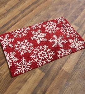 Snowflake Hooked Wool Accent Rug