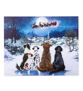 Holiday Dogs Lighted Wall Art