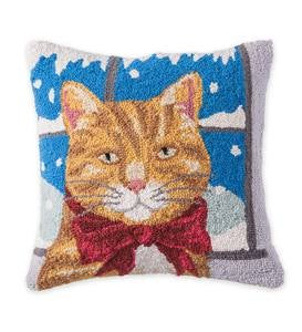 Hooked Wool Holiday Throw Pillow with Tabby Cat