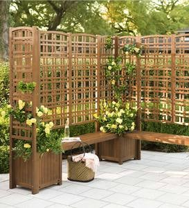 Outdoor Eucalyptus Privacy Screen Trellises and Planters