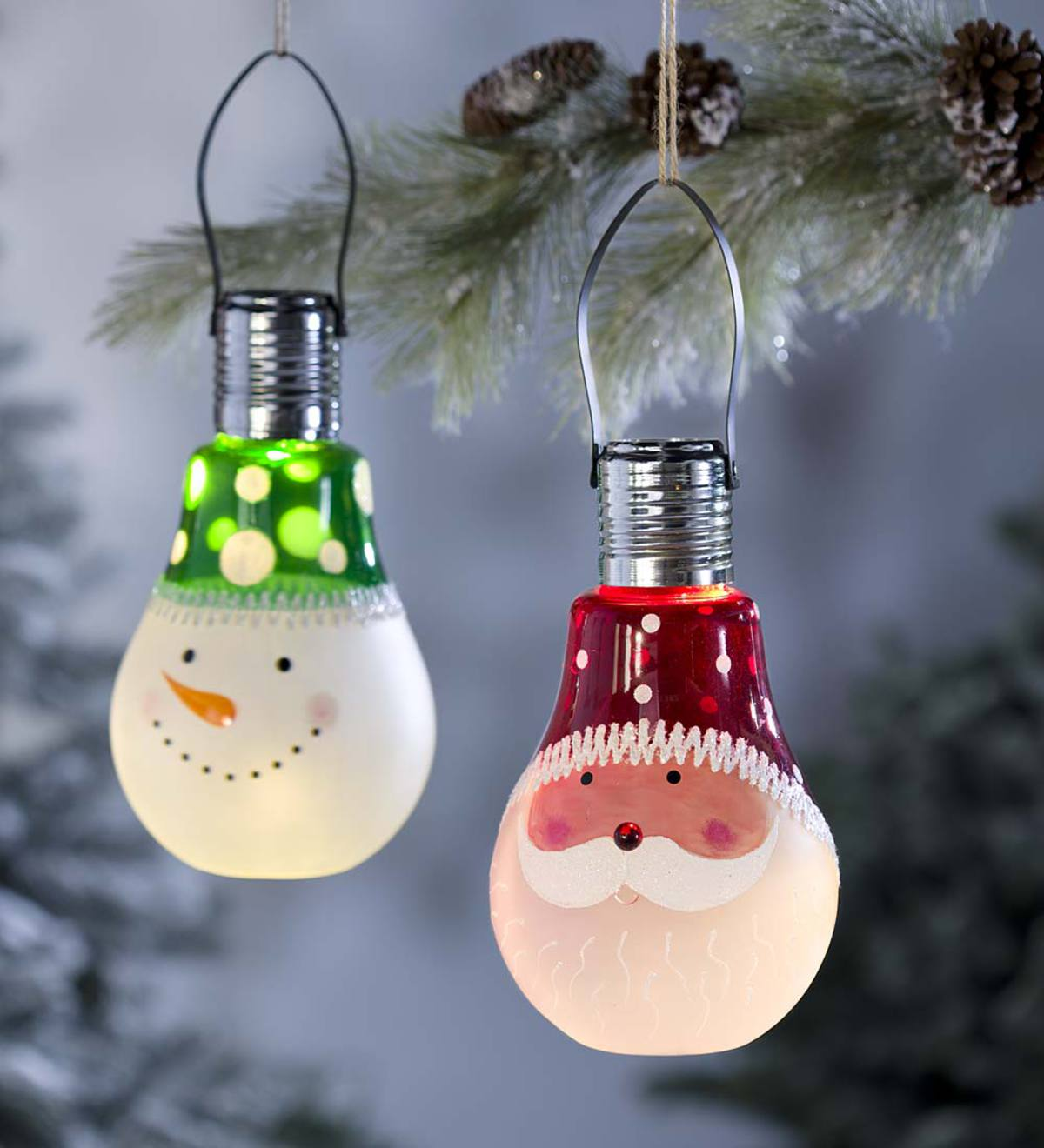 Solar Holiday Character Glass Bulb Ornament